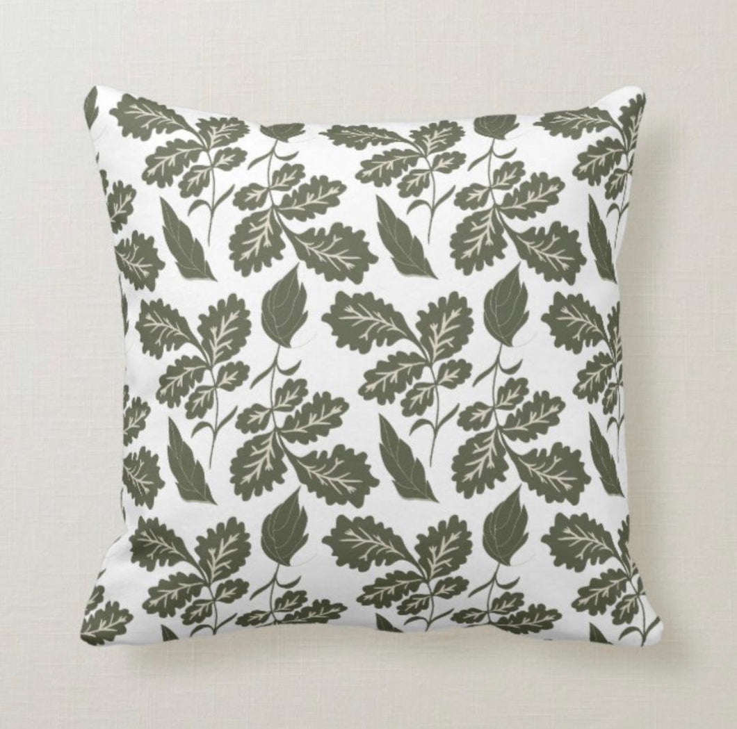Leaf Pattern, Dark Grey, Botanic, Throw Pillow