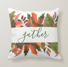 Throw Pillow, Fall Leaves, Gather, Welcome, Autumn Colors, Accent Pillow