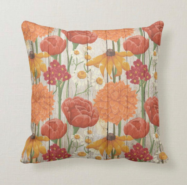 Throw Pillow, Autumn Wildflowers, Orange, Yellow, Floral Accent Pillow