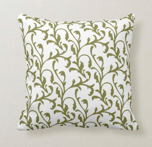 Christmas Pillow, Traditional Christmas Pattern, Green and White, Elegant, Accent Pillow