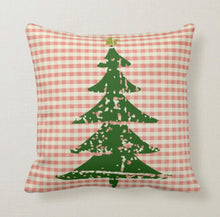 "Throw Pillow, Christmas, Red Gingham, Distressed Christmas Tree, ""Family"" Typography, Vintage Style, Accent Pillow"
