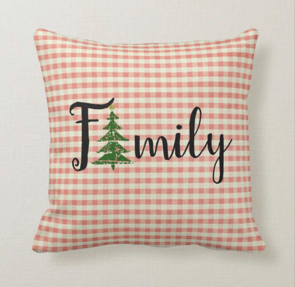 Throw Pillow, Christmas, Red Gingham, Distressed Christmas Tree,