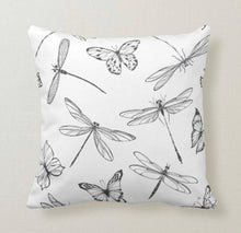 Pillow, Butterflies, Dragonflies, Pattern, Black & White, Throw Pillow