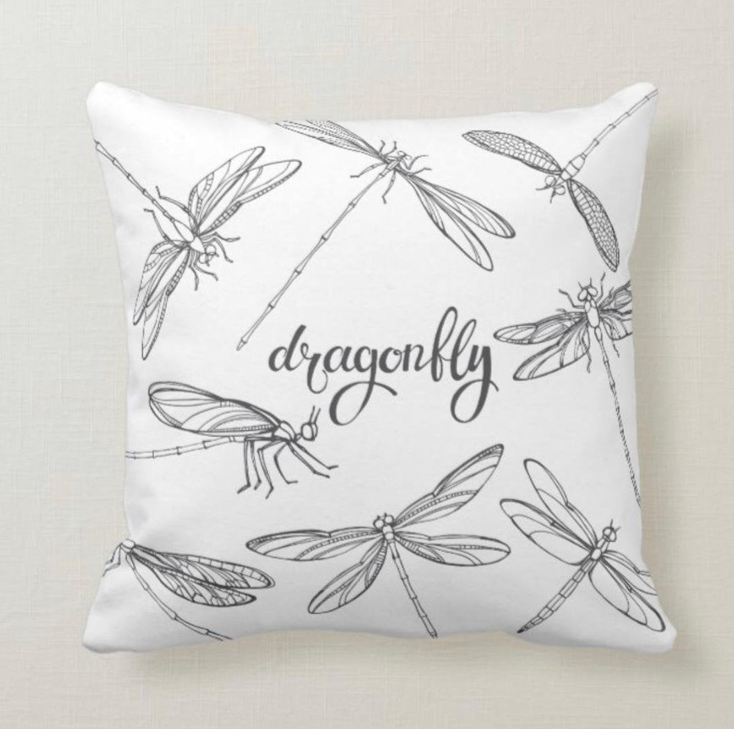 Pillow, Dragonfly, Black & White, Leaves, Pattern, Throw Pillow