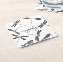 Dragonfly, Black & White, Paper Coaster