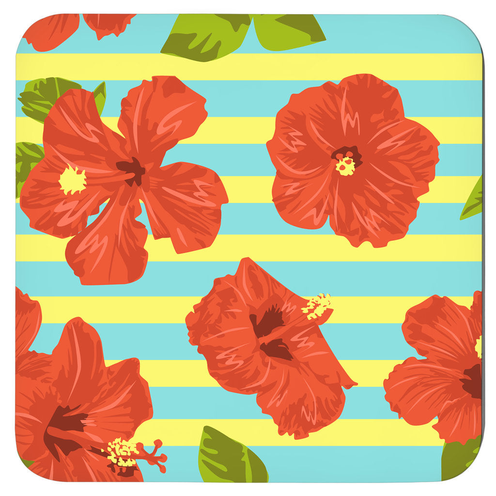 Hawaii Floral, Tropical Coasters, Set Of 4