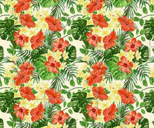 Shower Curtain, Floral,Tropical Flower, Red Hibiscus, White Plumeria, Tropical Leaves,