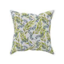 Throw Pillow, Green And Blue, Leaves, White Background, Botanic Pillow