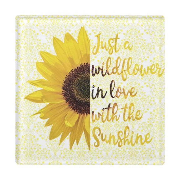 Glass Coaster, Sunflower, Just a Wildflower in Love with Sunshine, Floral with Words