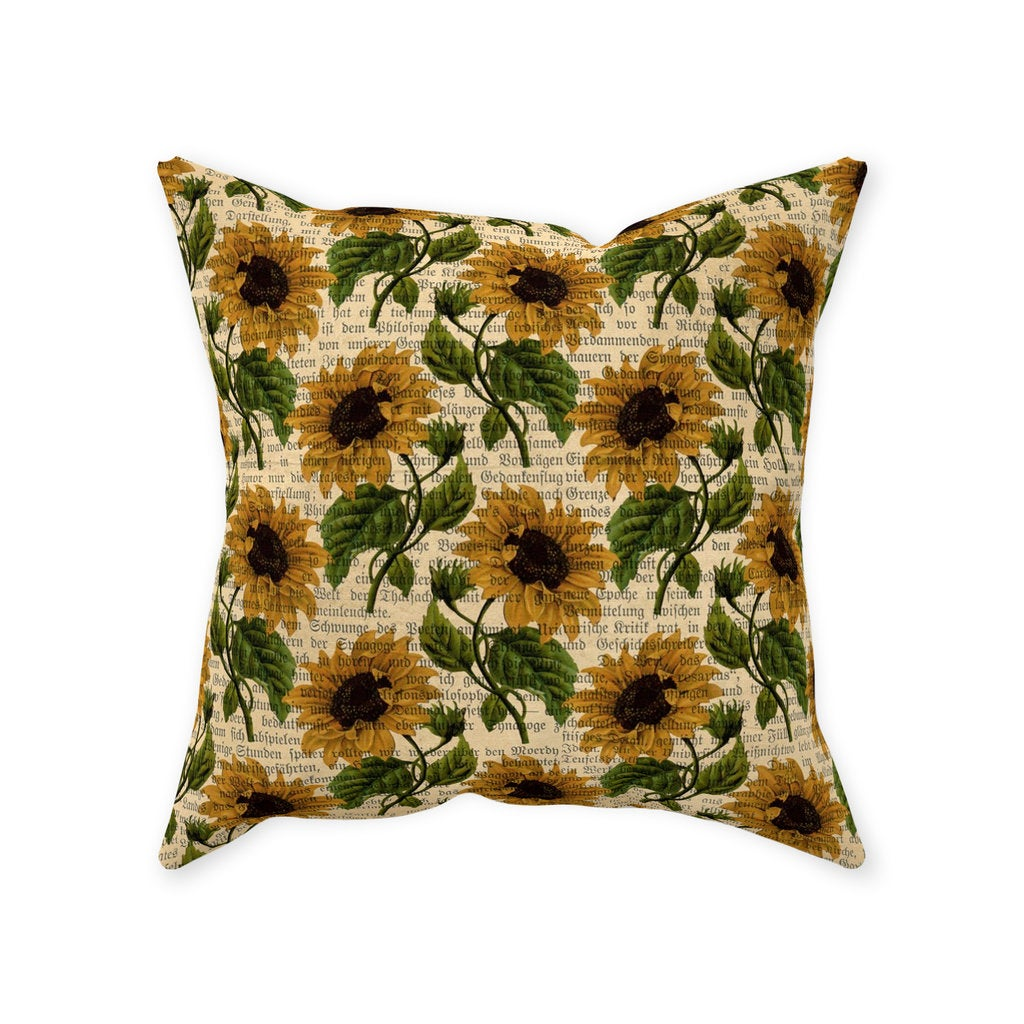 Sunflower Throw Pillow, Gold Sunflower Stems, Book Words Background, Gold, Green, Tan, Pillow