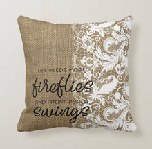 Porch Pillow, Burlap and Lace Design, Fireflies, Front Porch Swings, Throw Pillow