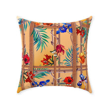 Exotic Floral, Throw Pillows, Tropical Rope Design, Tan