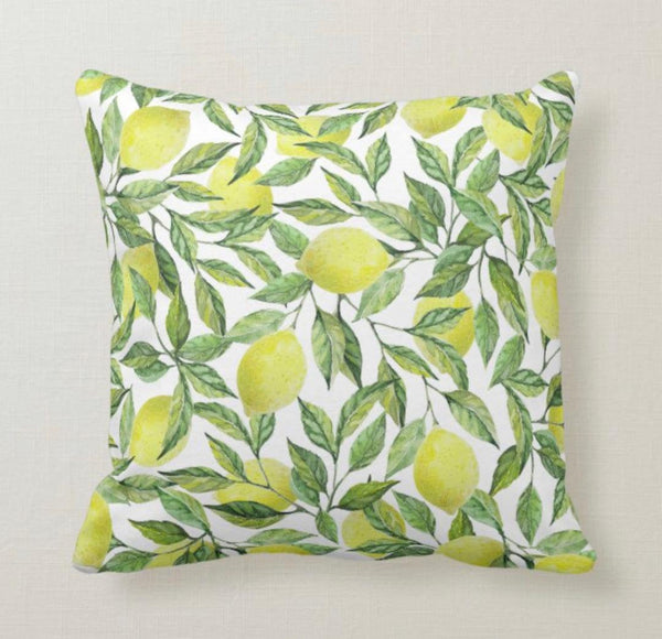 Lemon Throw Pillow, Lemon and Leaves, Yellow and Green, Lemon Pattern Home Decor