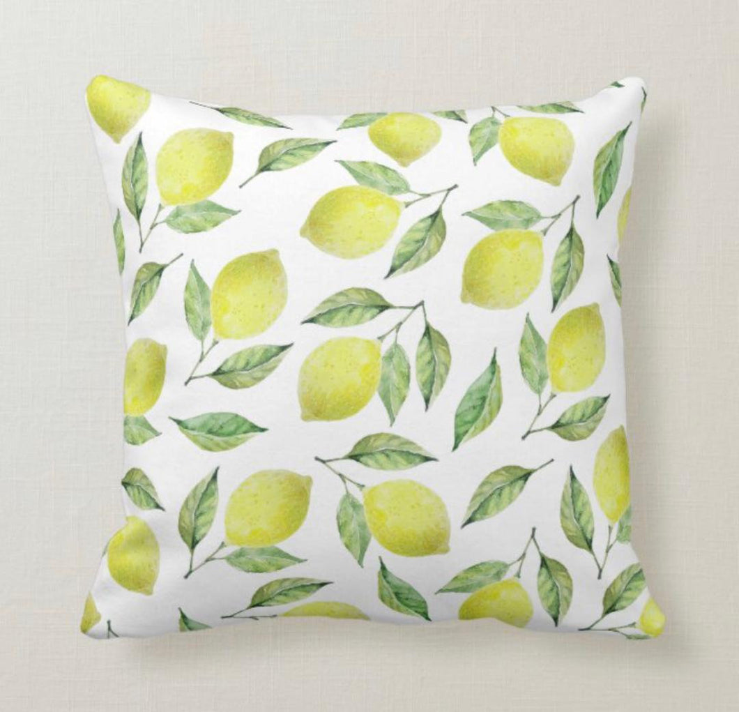 Lemon Throw Pillow, Lemon Stems and Leaves, Yellow and Green, Lemon Pattern Home Decor