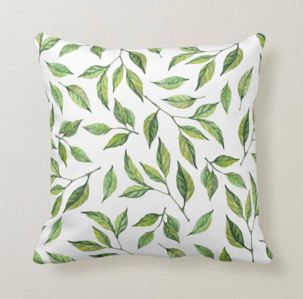 Lemon Throw Pillow, Lemon Leaves, Watercolor Green, Lemons Home Decor