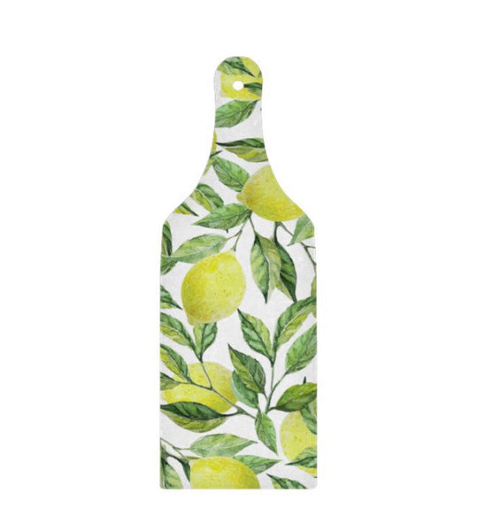 Lemon Glass Cutting Board Paddle, Lemon and Leaves, Yellow and Green, Lemon Pattern Kitchen Decor