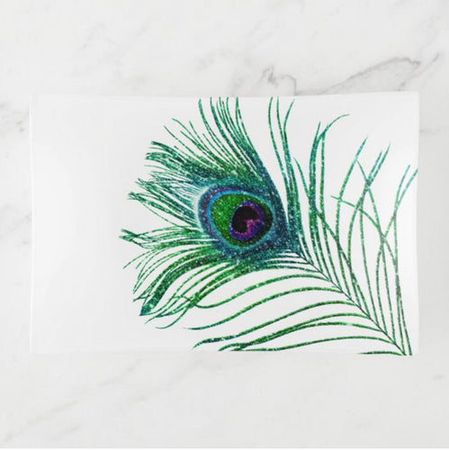 Decorative Glass Tray, Peacock Feather, Trinket Dish