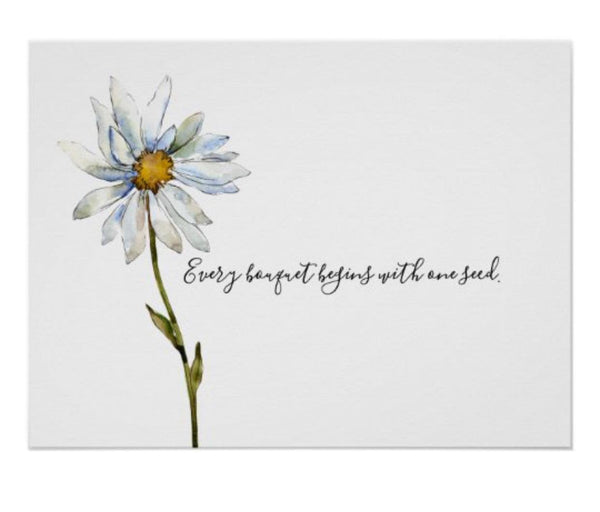 Daisy Wall Art, Print, Watercolor,