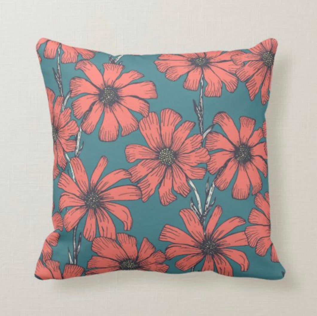 Daisy Throw Pillow, Orange Daisy Pattern, Blue Background, Floral Pattern
