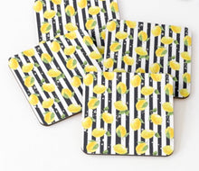 Lemon Napkins, Black & White Stripe, Lemon And Stripe, Cotton Twill, Cloth Napkins, Set of 4