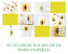 Coaster Set of 4, Boho Style, Sunflower, Wildflower in Love with the Sunshine