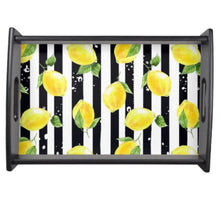 Wood Tray, Yellow Lemon, Black and White Stripe, Lemon and Stripe, Serving Tray