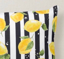 Lumbar Throw Pillow, Yellow Lemon Pattern, Black & White Striped, Zesty, Summer Pillow, Lemon and Stripe, Rectangle