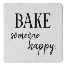 "Marble Stone Trivet ""Bake Someone Happy"" Holiday Baking, Trivet with Words, Kitchen Decor"
