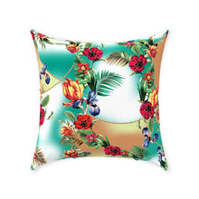Tropical, Throw Pillow, Exotic Floral, Turquoise And Tan Hush