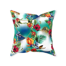 Tropical Throw Pillow, Exotic Floral, Blue Hush, Island Flowers