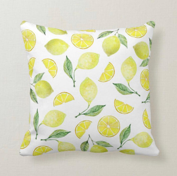 Lemon Throw Pillow, Lemonade Ready, Lemons Slices, Yellow Lemons On Stem, Lemon Home Decor