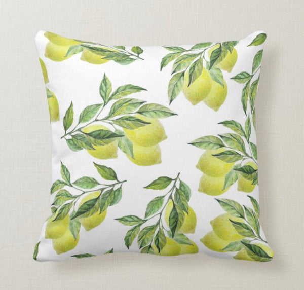 Lemon Throw Pillow, Yellow Lemon Bouquets and Leaves, Lemon Pattern, Home Decor