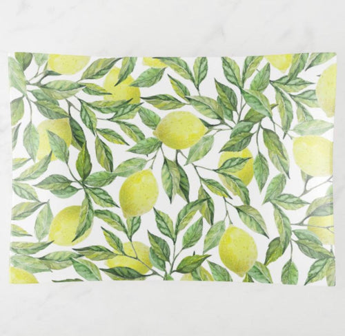 Lemon Decorative Glass Tray, Lemon and Leaves, Yellow and Green, Lemon Pattern Serving Tray, Lemon  Home Decor
