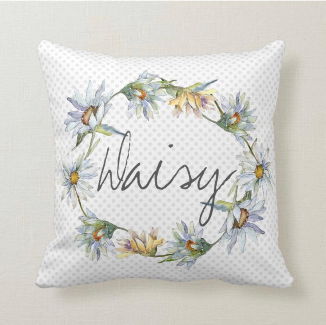 Daisy Wreath, Throw Pillow, Watercolor Pastels, Blue Polka-Dot,