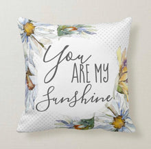 "Daisy Throw Pillow ""You Are My Sunshine""  Blue Polka-Dots, ""daisy"" Floral Pillow"
