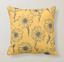 Daisy Throw Pillow, Mustard Yellow, Gray Daisy Pattern, Daisy Floral Pattern Pillow