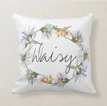 "Daisy Wreath, Throw Pillow, Watercolor Pastels, Blue Polka-Dot, ""Daisy"" Floral Pillow"