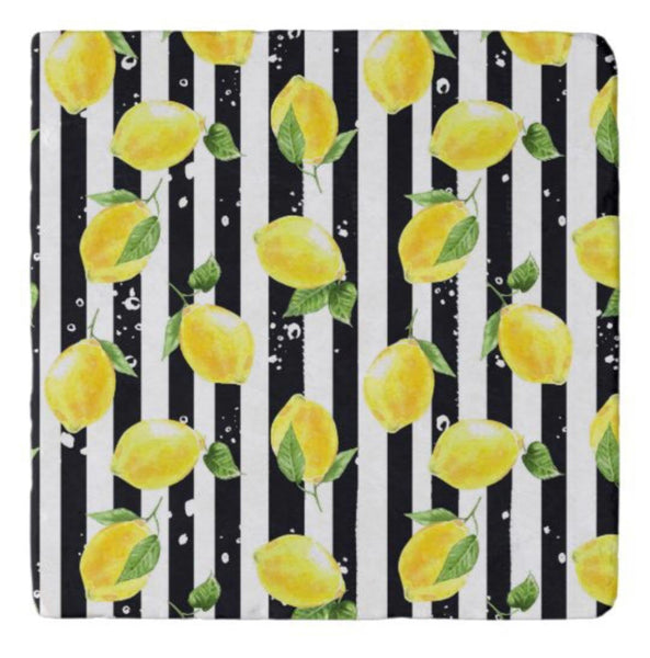 Lemons Marble Trivet, Yellow Lemon with Black Stripe, Lemon Kitchen Decor