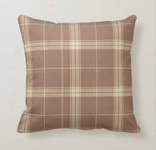 Fall Plaid Pillow, Brown and Beige, Autumn Decor, Fall Home Decor, Farmhouse & Traditional Decor, Cabin Decor