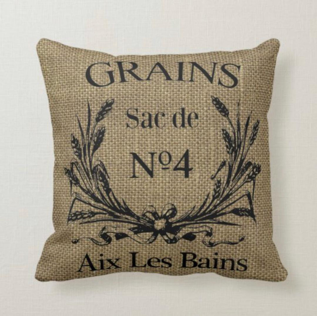 Rustic Pillow, French Grain Sack Design, Burlap Design,