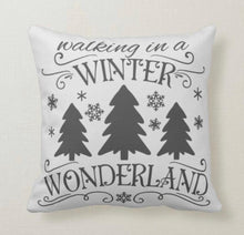 "Christmas Pillow, Words ""Walking in a Winter Wonderland"" Christmas Song, Christmas Trees,  Grey, ""Jingle all the Way"" Christmas Music Pillow"