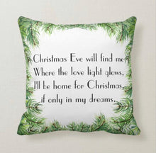 "Retro Christmas Pillow, Words ""Home for Christmas"" Retro Red and White Car, Christmas Tree, Christmas Song ""I'll Be Home For Christmas"""