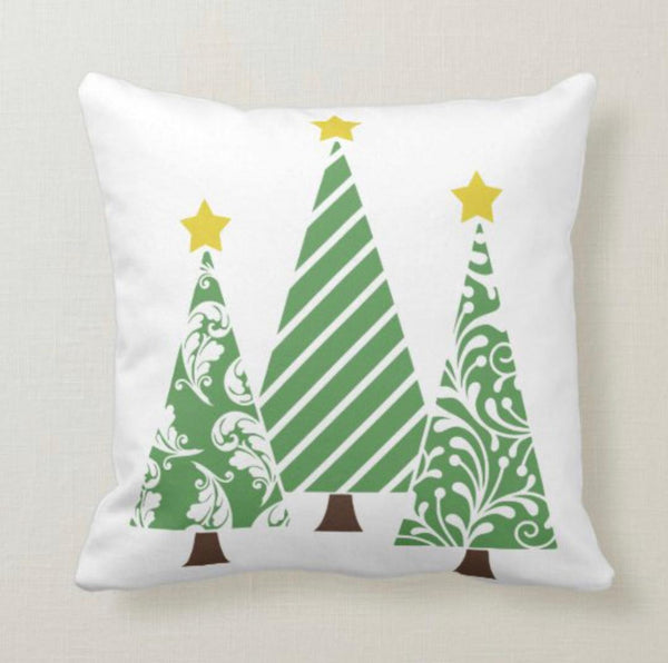 Triangle Christmas Tree Pillow, Green and White, Two Pillows in One, Words