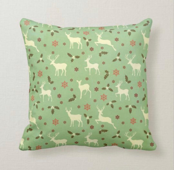Christmas Reindeer Pillow, Antique Pattern, Mint Green, Cream, Red, and Brown, Christmas Pillow