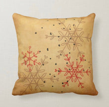 Retro Christmas Pillow, Snowflake Pattern, Pink, Red, Gray, Mid-Century Christmas Decor, Cabin Style