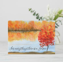 "Autumn Greeting Card, Flat, Quote ""For everything there is a season."" Watercolor Fall Landscape, Fall Greeting Card to Frame, 5 X 7, Blank"