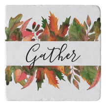 "Autumn ""Gather"" Marble Trivet, Fall Leaves, Fall Kitchen Decor, Stone Trivet"