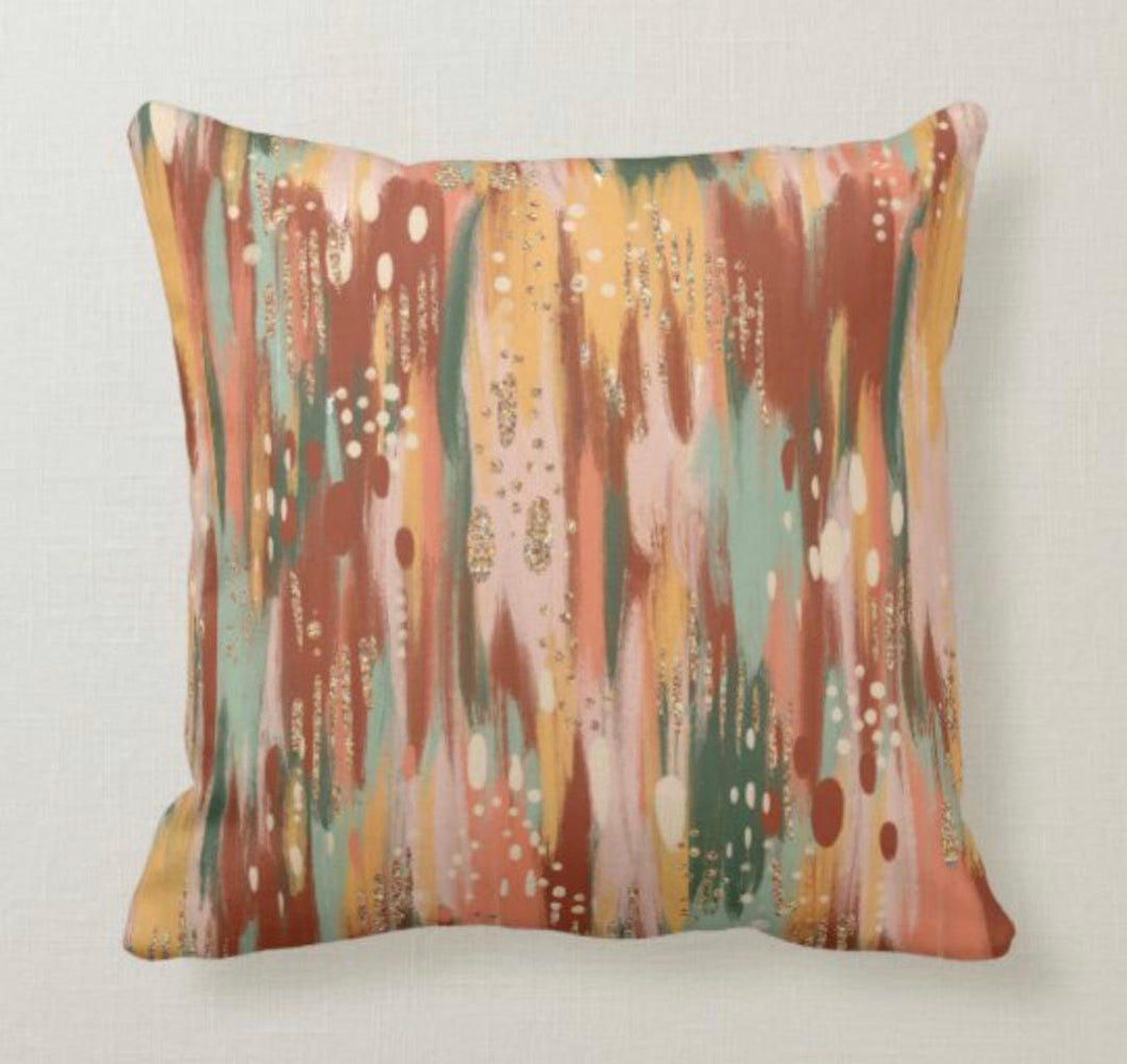 Fall Pillow, Watercolor in Blush, Yellow, Mint Green, Pillow and Cover, Earth Tones, Autumn Home Decor