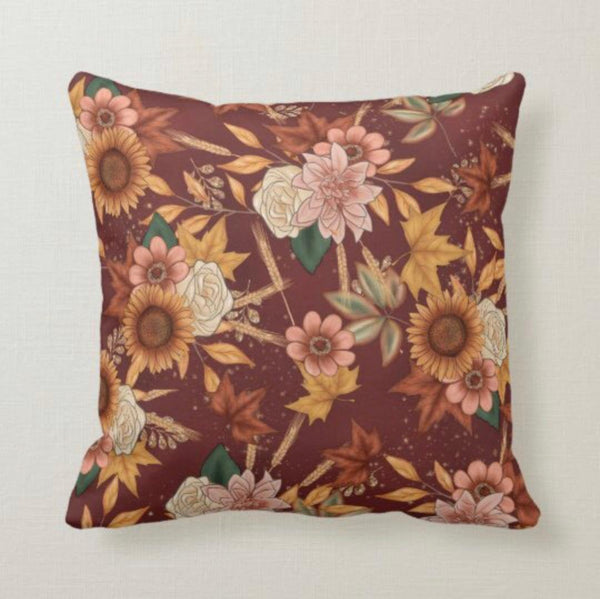 Sunflower Fall Pillow, Fall Floral and Leaves Pillow, Autumn Pillow, Fall Home Decor