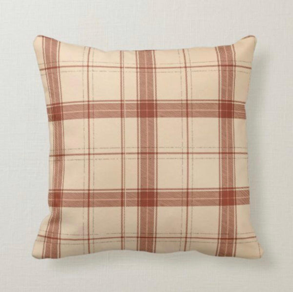 Fall Plaid Pillow, Rust and Beige, Autumn Decor, Fall Home Decor, Farmhouse & Traditional Decor